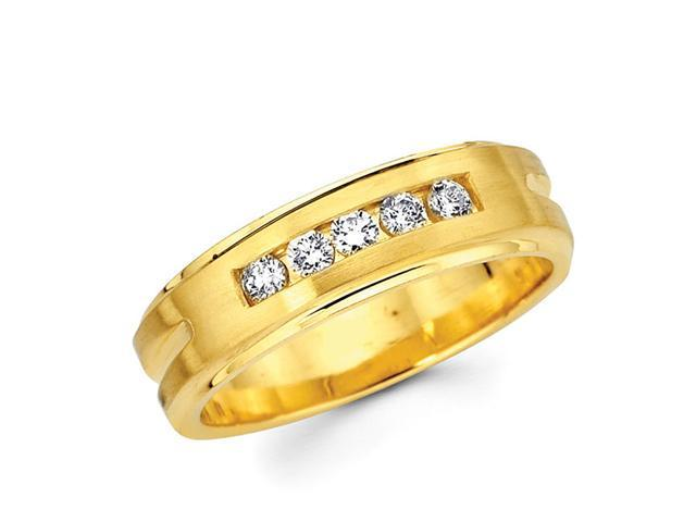 Channel Set Round Diamond Wedding Ring 14k Yellow Gold Band (1/5 CTW)