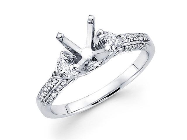 Semi Mount Pave Set Diamond Engagement Ring 18k White Gold (2/3 Carat)