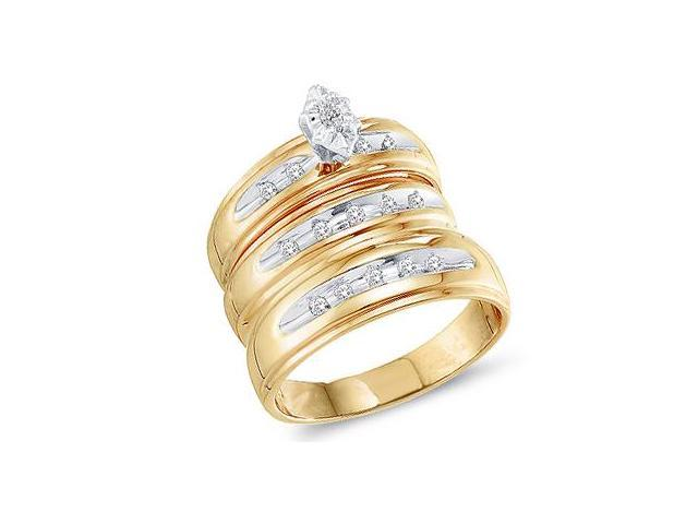 Diamond Engagement Rings Set Wedding Bands Yellow Gold Men Lady .23ct