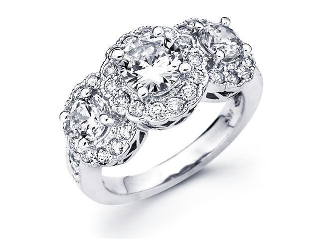 Semi Mount Diamond Engagement Ring 14k White Gold Pave Setting (3/4ct)