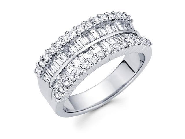 Diamond Anniversary Ring 14k White Gold Fancy Fashion Band (1.62 CTW)