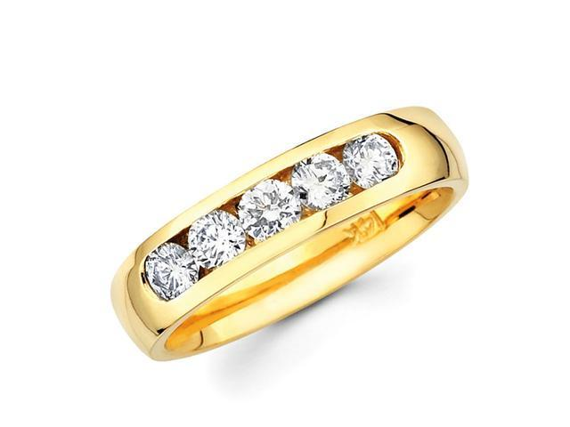 Five Stone Round Diamond Wedding Ring 14k Yellow Gold Band (3/4 Carat)