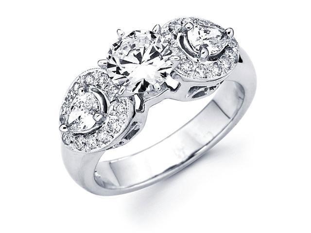 Semi Mount Pear Diamond Engagement Ring 14k White Gold Pave Setting