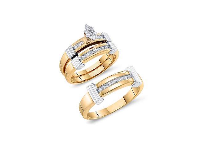 Diamond Engagement Rings Set Wedding Multi-Tone Gold Men Ladies .22ct