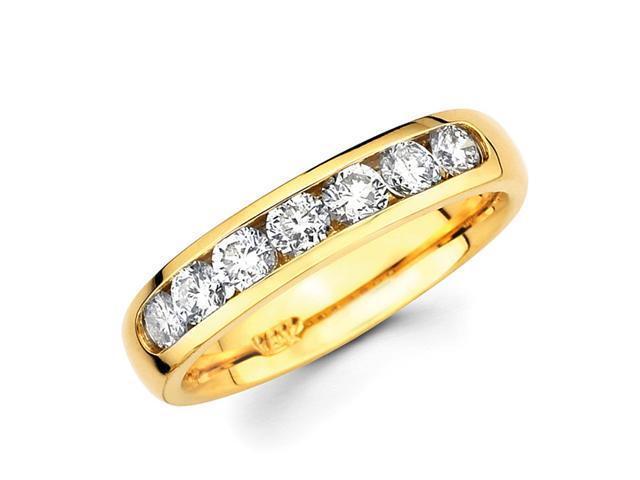 Round Diamond Wedding Ring 14k Yellow Gold Anniversary Band (1/2 CTW)