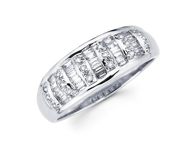 Diamond Anniversary Ring 14k White Gold Fancy Fashion Band (0.44 CTW)