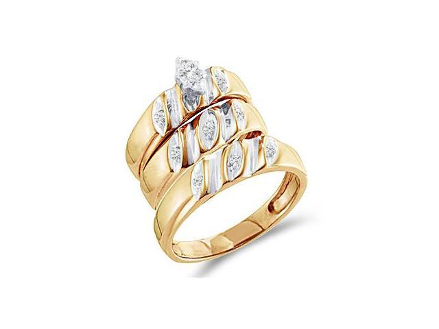 Trio Diamond Rings Bridal Set Engagement Wedding Yellow Gold .17 carat