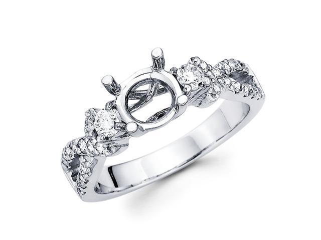Semi Mount Trellis Diamond Engagement Three Stone Ring 14k White Gold