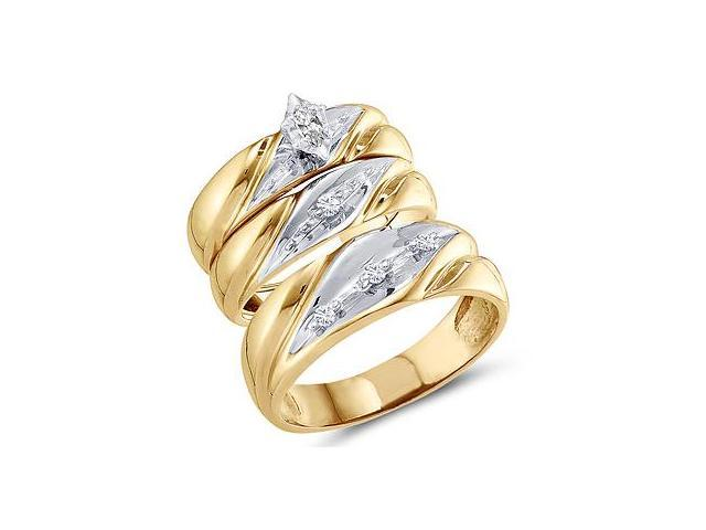 Trio Diamond Engagement Rings Set Wedding Yellow Gold .15 carat