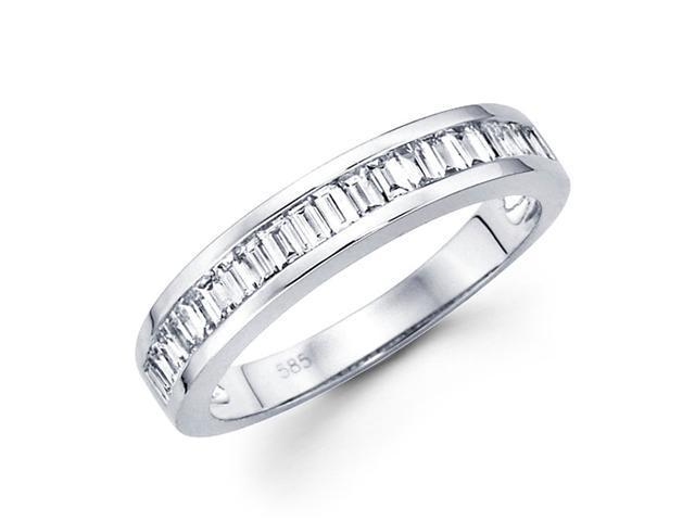 Baguette Diamond Wedding Band 14k White Gold Anniversary Ring (1/2 CT)