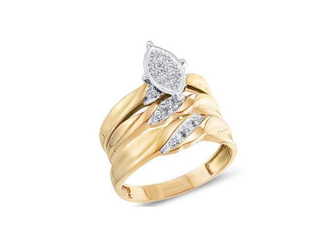 Trio Diamond Rings Bridal Set Engagement Wedding Yellow Gold 1/10 ctw