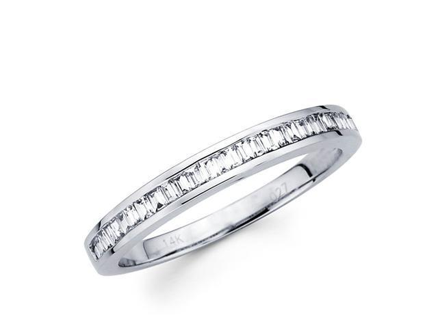 Baguette Diamond Wedding Band 14k White Gold Anniversary Ring (1/4 CT)