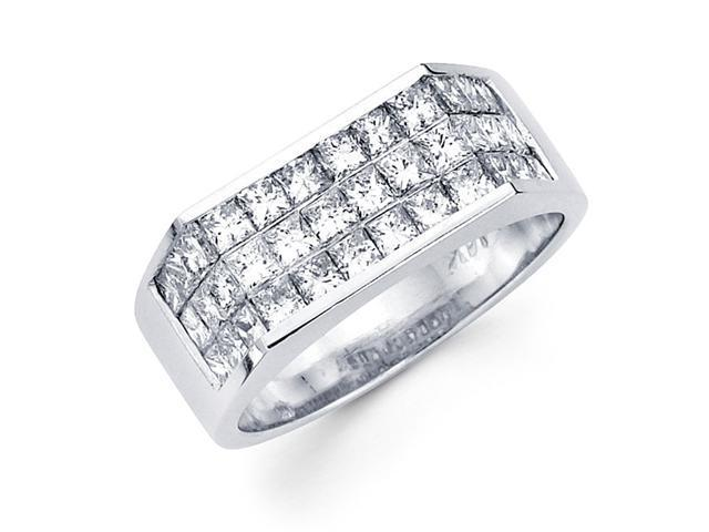 Princess Diamond Anniversary Ring 14k White Gold Fancy Band (1.73 CTW)