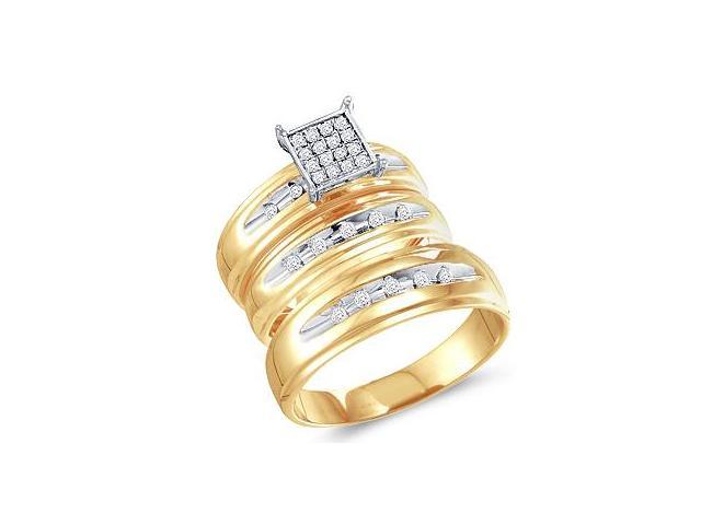 Trio Diamond Rings Bridal Set Engagement Wedding Yellow Gold .1/3 ctw