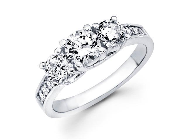 Semi Mount Three Stone Diamond Ring 14k White Gold Anniversary 0.95 CT