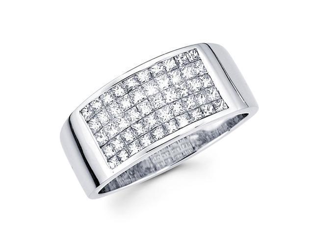 Princess Diamond Anniversary Ring 14k White Gold Fancy Band (1.02 CTW)