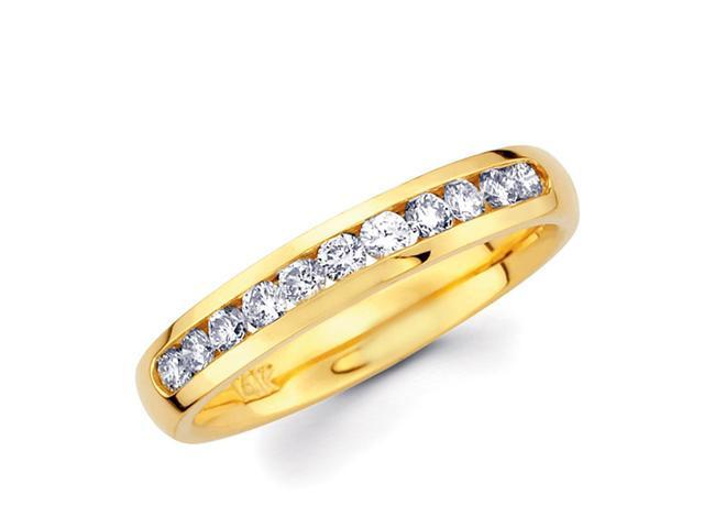 Round Diamond Wedding Ring 14k Yellow Gold Anniversary Band (1/3 CTW)