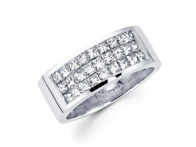 Princess Diamond Anniversary Ring 14k White Gold Fancy Band (1.20 CTW)