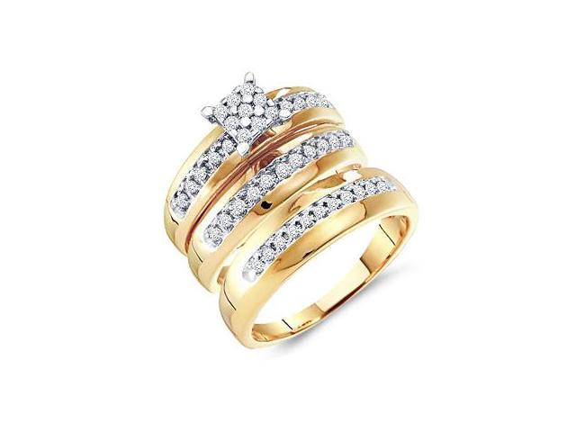Diamond Engagement Rings Set Wedding Bands Yellow Gold Men Lady .34ct