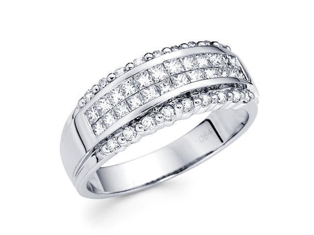 Princess Diamond Anniversary Ring 14k White Gold Fancy Band (0.85 CTW)