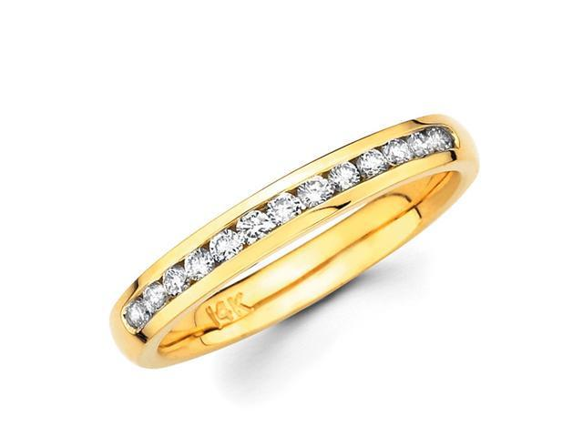Round Diamond Wedding Band 14k Yellow Gold Anniversary Ring (1/4 CTW)