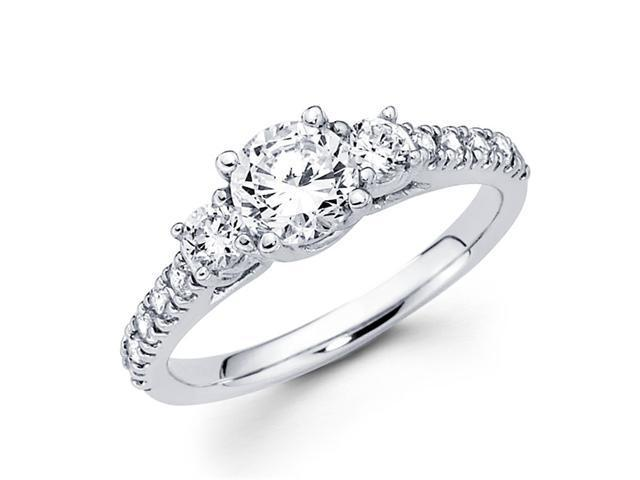 Semi Mount Three Stone Diamond Ring 14k White Gold Anniversary 0.75 CT