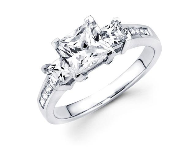 Semi Mount Three Stone Princess Diamond Ring 14k White Gold (1/2 CTW)