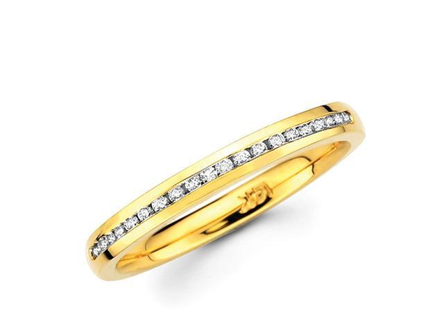 Channel Set Round Diamond Wedding Ring 14k Yellow Gold Band 1/5 Carat
