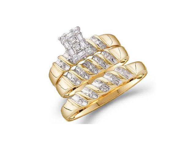 Trio Diamond Rings Bridal Set Engagement Wedding Yellow Gold .10 ct