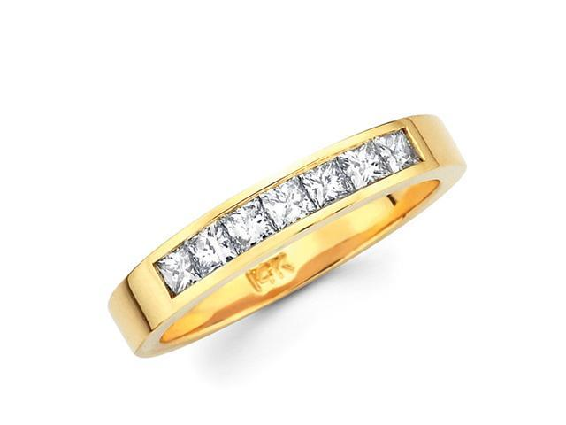 Princess Diamond Wedding Ring 14k Yellow Gold Anniversary Band 1/2 CT