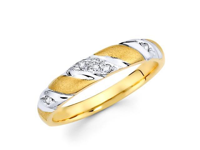 Women's Diamond Wedding Ring 14k Multi-Tone Gold Band (0.05 Carat)