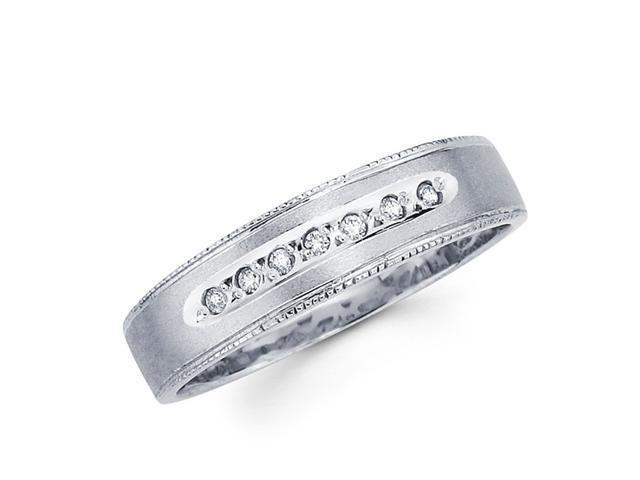 Women's Diamond Wedding Ring 14k White Gold Band (0.06 Carat)