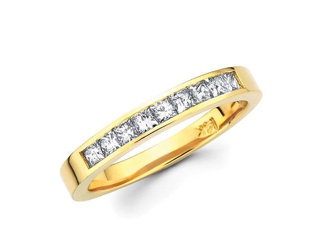 Ladies Princess Diamond Wedding Ring 14k Yellow Gold Band (2/3 Carat)
