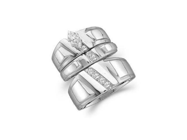 Diamond Bridal Wedding Rings Set Bands 14k White Gold Men + Ladies