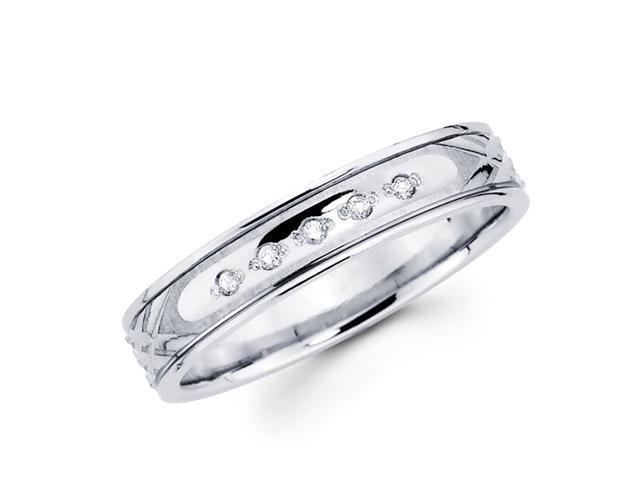 Women's Diamond Wedding Ring 14k White Gold Band (0.05 Carat)