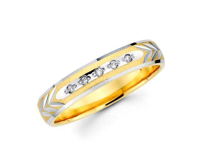 Ladies Diamond Wedding Ring 14k Multi-Tone Gold Band (0.05 Carat)