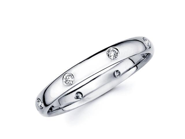 Round Diamond Wedding Ring 14k White Gold Anniversary Band (0.14 CTW)