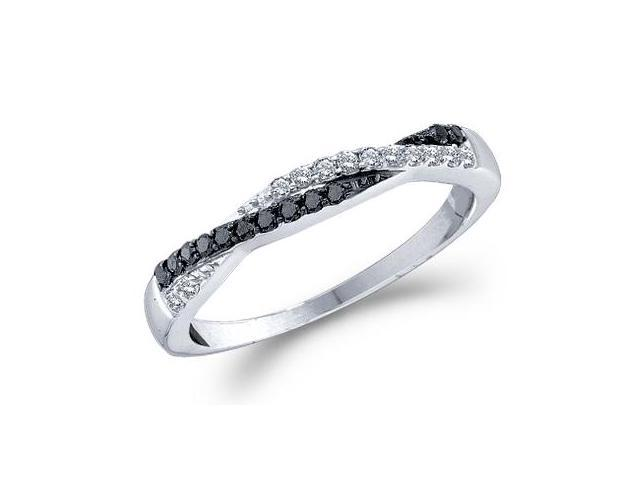 Black Diamond Ring 14k White Gold Anniversary Fashion Band (1/4 Carat)