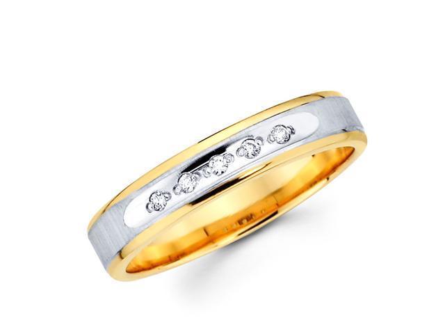 Women's Diamond Wedding Band 14k Multi-Tone Gold Ring (0.05 Carat)