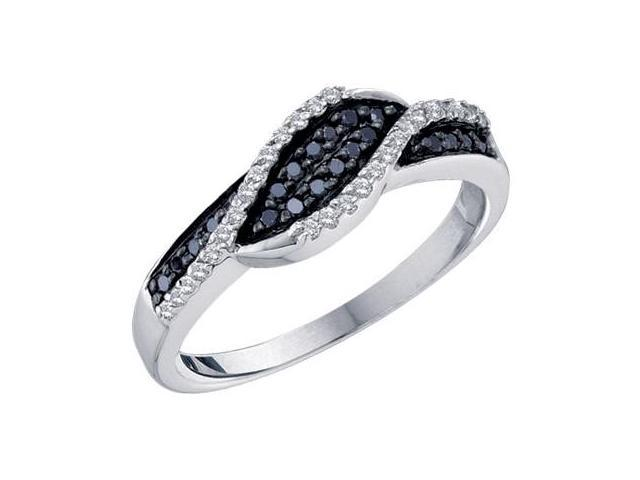 Black Diamond Band Womens Ring 14k White Gold (1/4 Carat)
