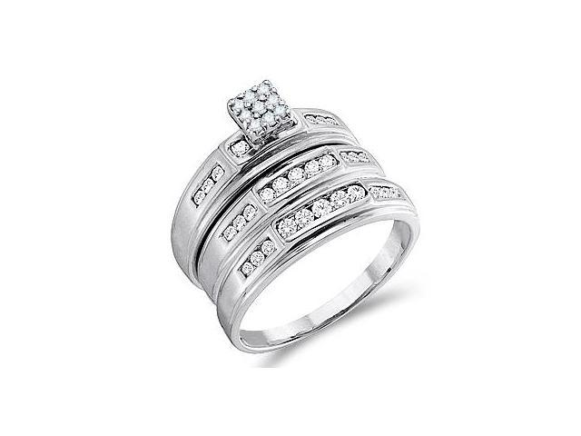 Diamond Engagement Ring & Wedding Bands 14k White Gold Bridal (.56 CT)