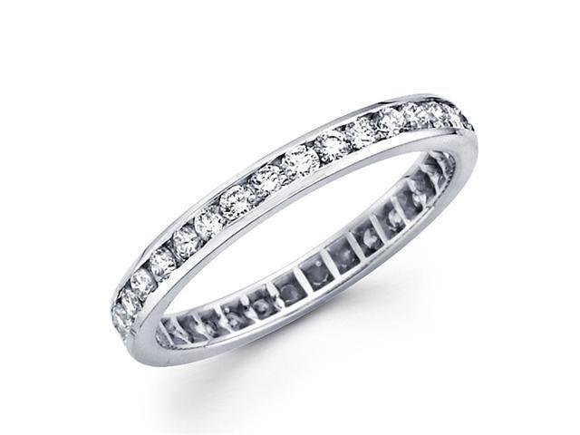 Round Diamond Eternity Band 14k White Gold Anniversary Ring (0.88 CTW)