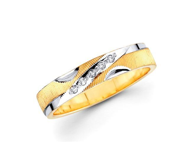 Ladies Diamond Wedding Band 14k Multi-Tone Gold Ring (0.05 Carat)