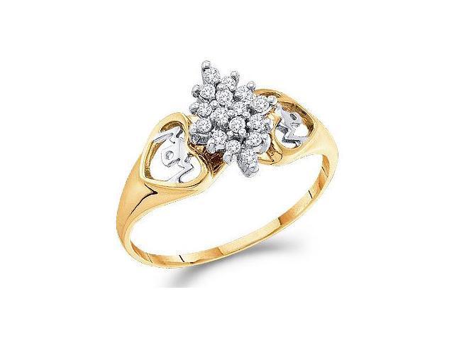 Cluster Diamond Ring Anniversary Womens 10k Yellow Gold (0.15 Carat)