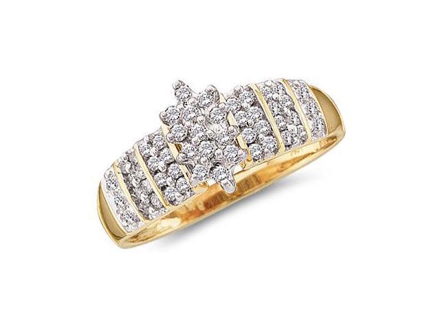 Cluster Diamond Ring Womens Fashion 10k Yellow Gold (1/4 Carat)