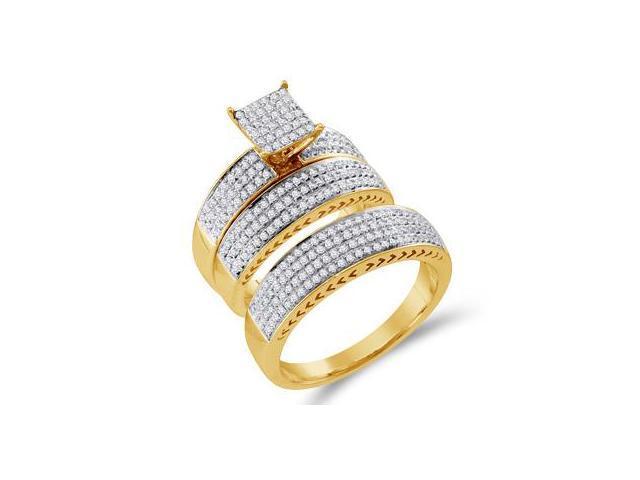Diamond Rings Set Wedding Engagement Yellow Gold Mens + Womens (.97ct)