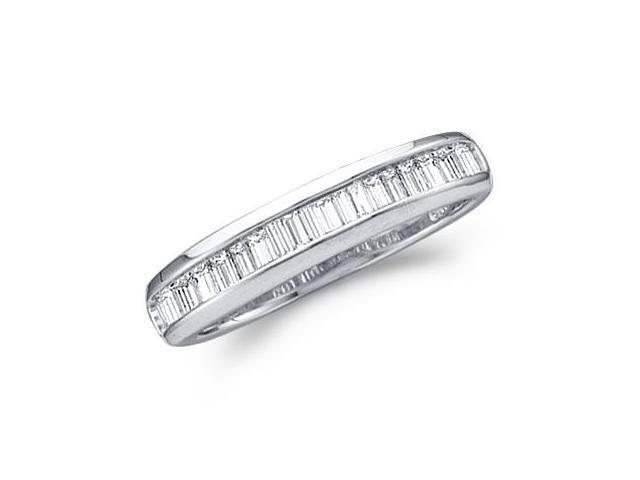 Diamond Wedding Ring 14k White Gold Baguette Band (0.15 Carat)