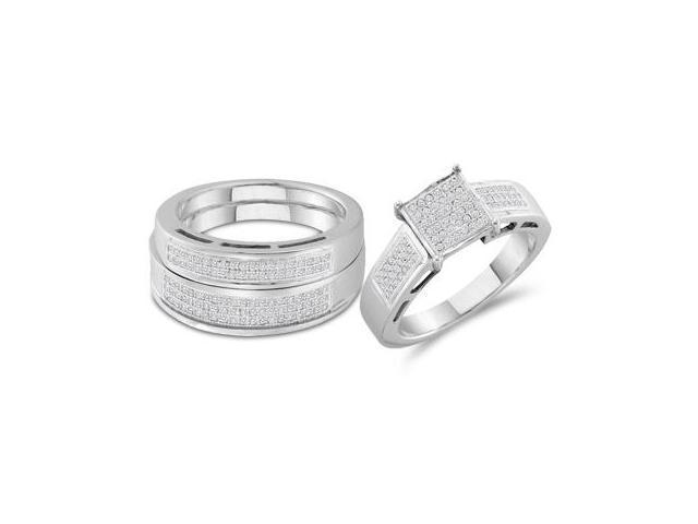Diamond Engagement Ring Wedding Sterling Silver Mens & Women (0.60 CT)