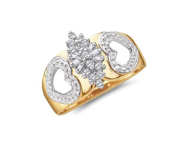 Cluster Heart Ladies Diamond Ring 10k Yellow Gold (0.15 Carat)