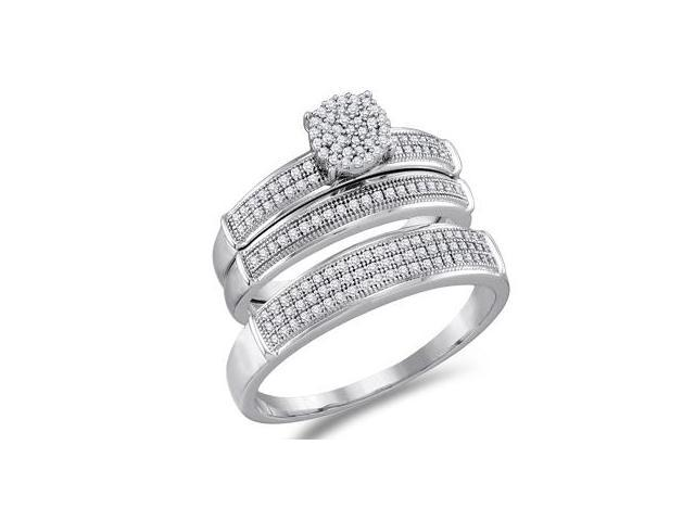 Diamond Engagement Rings Set Wedding White Gold Mens & Women (0.40 CT)